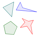 A variety of polygons, each having straight sides.